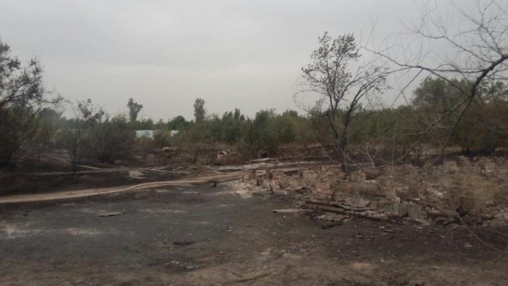 При пожаре в Волго-Ахтубинской пойме сгорело несколько домов