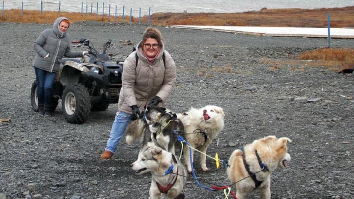 Актёры Волковского на Чукотке покатались в собачьих упряжках