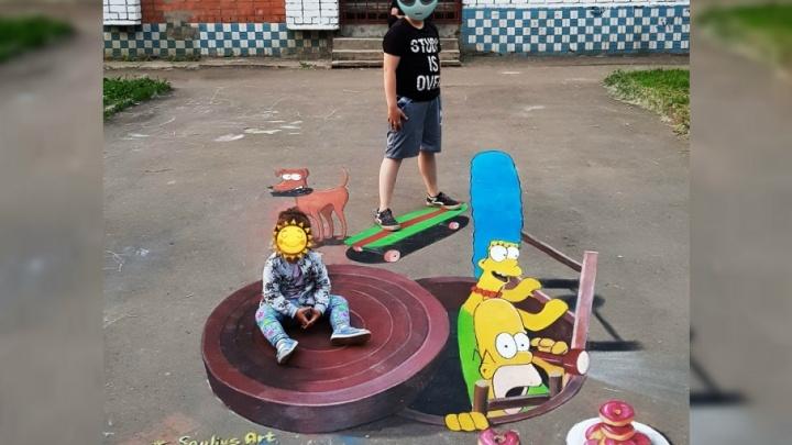 «Симпсоны в городе»: в Ярославле появился новый 3D-рисунок