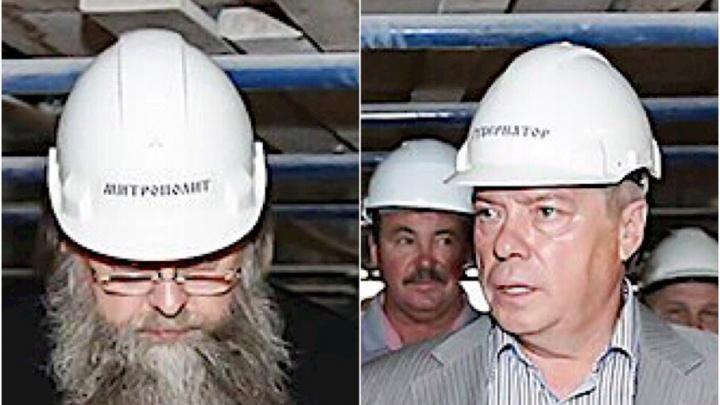 «Смотри, не перепутай»: митрополит и губернатор прошлись по стройке в именных касках