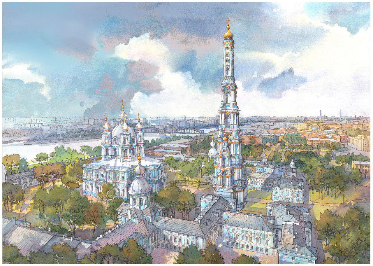 Эксиз колокольни Смольного собора/автор - Фонд содействия строительству культовых сооружений РПЦ в Петербурге