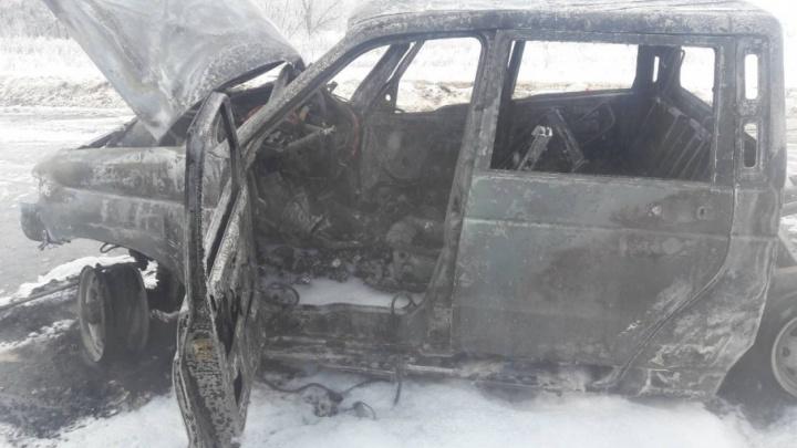 Огненная авария  под Самарой: УАЗ сгорел после столкновения с автоцистерной