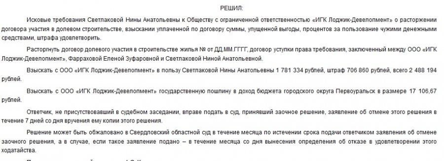 Решение Первоуральского городского суда.