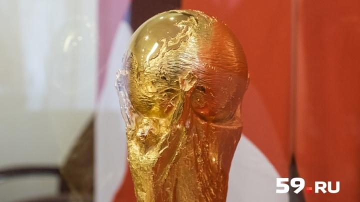 Шесть килограммов чистого золота: в Пермь привезли кубок чемпионата мира по футболу