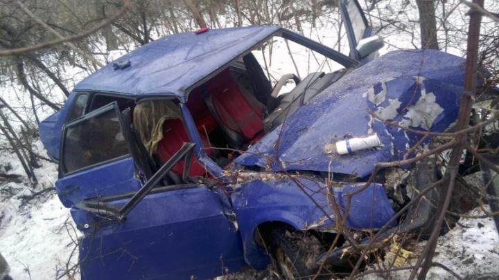 Людей вырезали из машины: под Тольятти ВАЗ-21099 врезался в дерево