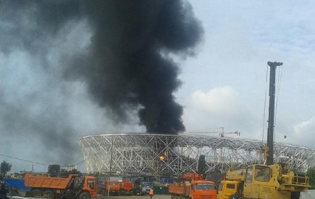 На стройплощадке «Волгоград Арены» произошел пожар