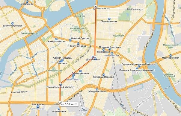 Центральный маршрут Велосипедизации: Литейный, Владимирский, Загородный и Московский проспекты