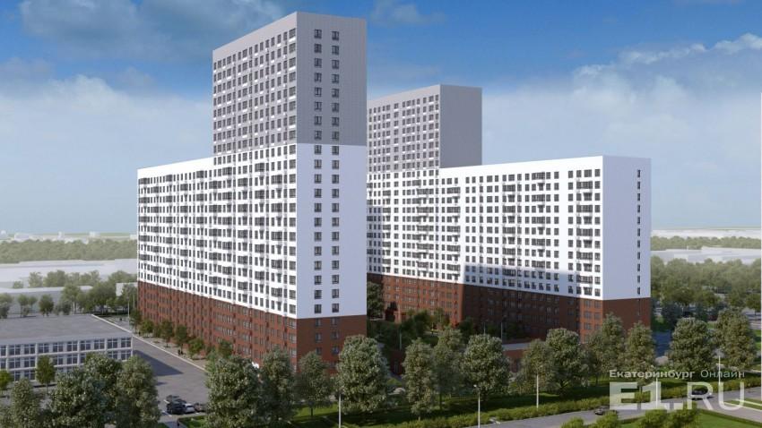 Это эскиз первых двух домов, которые планируется начать строить в квартале. Максимальная этажность, судя по эскизу, – 25 этажей. Как отмечается в документации, средняя этажность всего квартала составит 18,7 этажей, максимальная не уточняется.