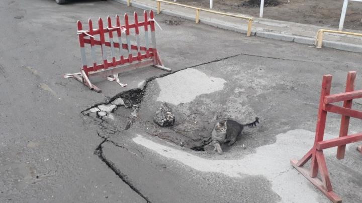 В Дзержинском районе Волгограда ушел под землю новый асфальт