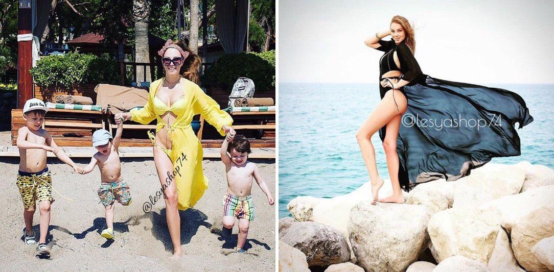 Полина Диброва взяла на отдых черную и желтую туники