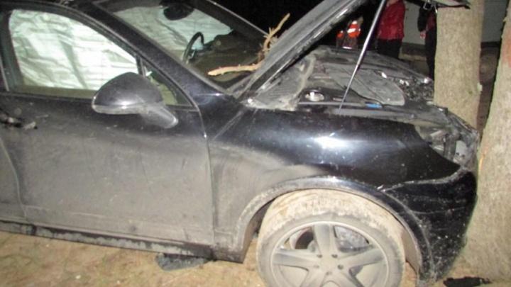 В Вилегодском районе водитель на «Порш-Кайене» врезался в дерево