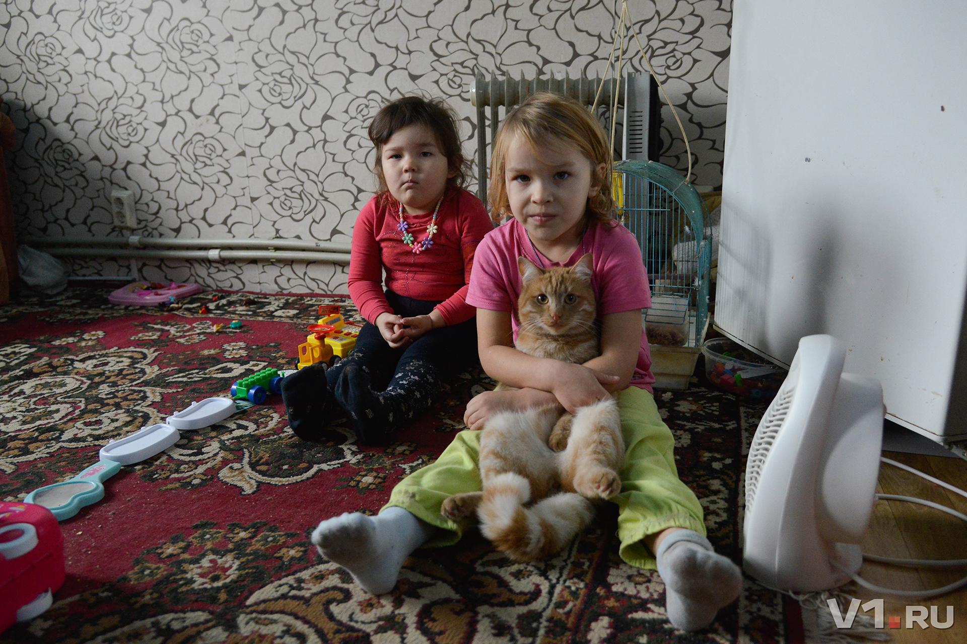 Кот служит детям дополнительной грелкой