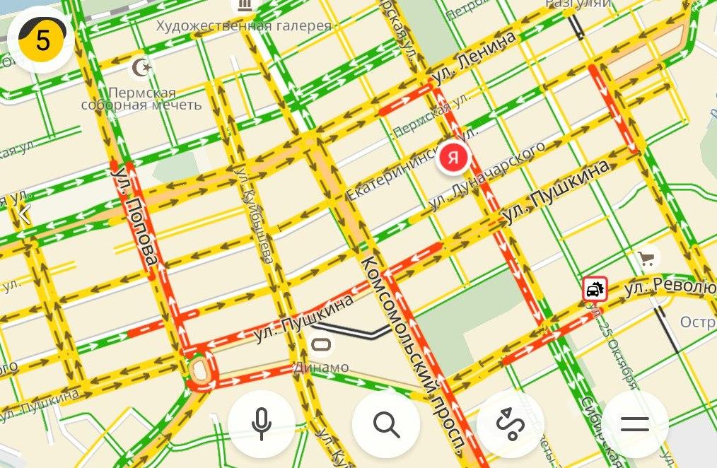 На центральных улицах образовались пробки