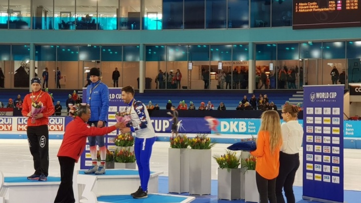 Конькобежец Александр Румянцев взял бронзовую награду на первом этапе Кубка мира