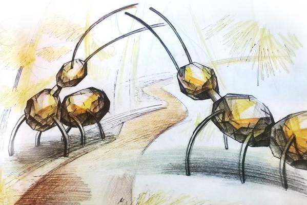 Эскиз для скульптуры муравьев на экологической тропе сделал художник Александр Менухов