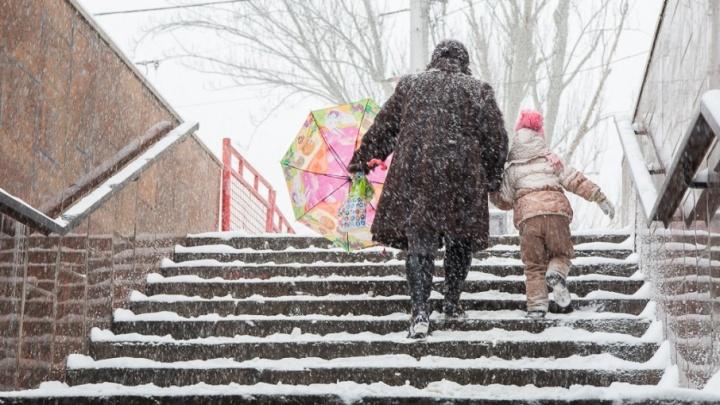 Волгоград засыплет снежной крупой