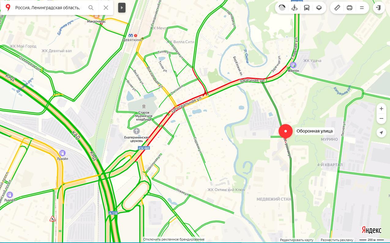 Пробка на Токсовском шоссе днём 13 ноября.