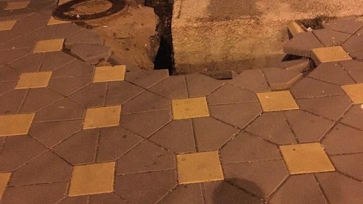 В Самаре обвалилась плитка на пересечении улицы Полевой и проспекта Ленина