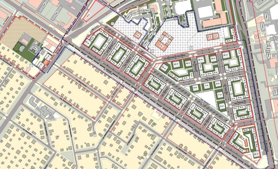 На схеме видно, где построят дома и какой этажности.