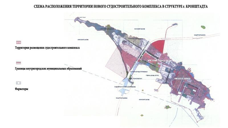 схема расположения территории нового судостроительного комплекса в структуре г. Кронштадта