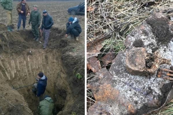 Рядом с останками бойца нашли немецкие снаряды и пулемет