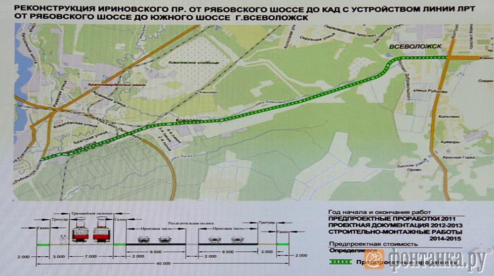 Реконструкция Ириновского пр. от Рябовского шоссе до КАД с устройством линии ЛРТ от Рябовского шоссе до Южного шоссе г. Всеволожск