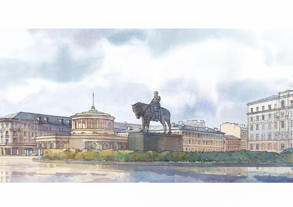 Эскиз памятника Александру III на площади Восстания/автор - Фонд содействия строительству культовых сооружений РПЦ в Петербурге