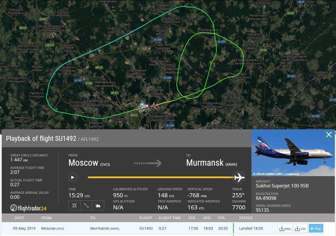 траектория полета самолета Сухой Суперджет 100 RA-89098 5 мая 2019 года // Источник: Flightradar24.com