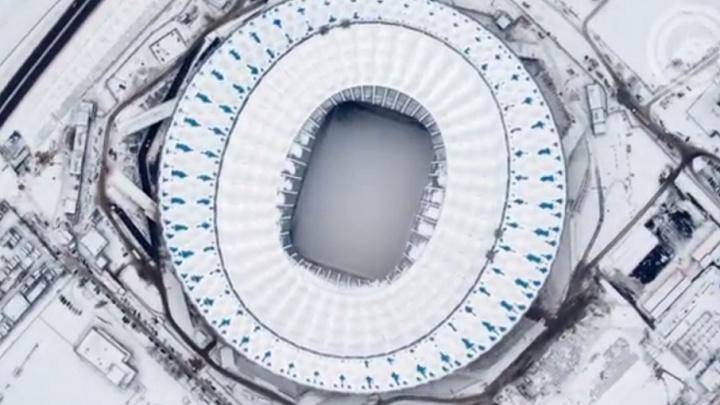 Заваленную снегом «Волгоград Арену» сняли с высоты птичьего полета