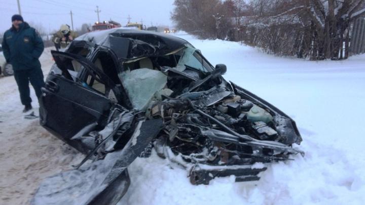 Чудом выжили: в Самарской области из-за снегопада «Ладу» занесло под КАМАЗ