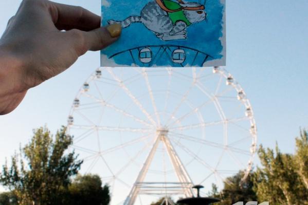 Кот Марины Басай на колесе обозрения «Седьмое небо»