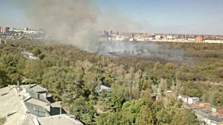 В Первомайском районе Ростова горит роща