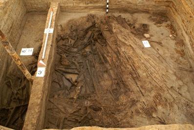 Участок внутреннего рва Ландскроны c остатками горелой древесины