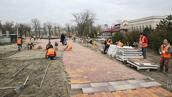 Строящийся парк на улице Левобережной готов на 70%