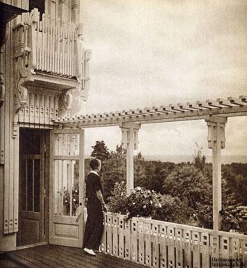 """Вилла """"Арфа"""" вид с балкона. Из фотоальбома """"Rakas Entinen Karjala"""" (1947, из-во W.S.O.Y., Порво)"""