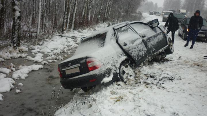 Водитель на летней резине спровоцировал серьезное ДТП в Ярославле