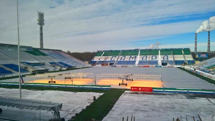 В Самаре поле стадиона «Металлург» подогревают «солнцем на колесах»