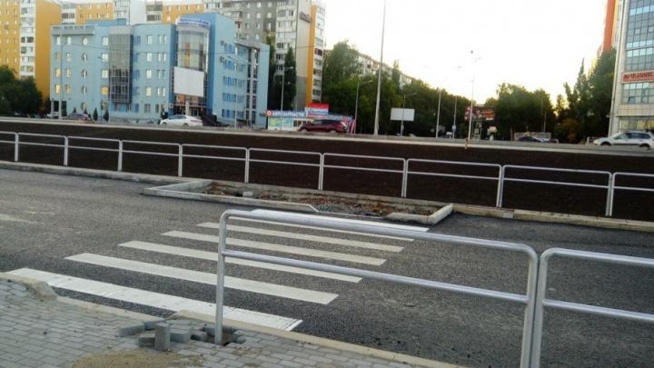На Московском шоссе около ТЦ «Нота» нарисовали зебру, ведущую в ограждение