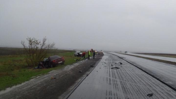 Лобовое ДТП на мокрой трассе: один погиб, двое в больнице