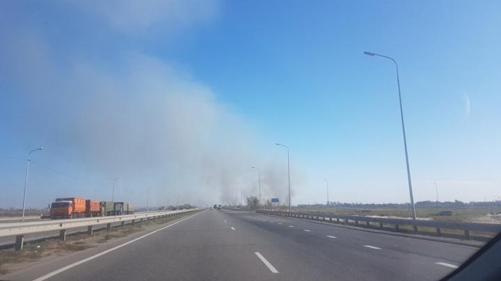 «Угрозы распространения огня нет»: между Ростовом и Батайском тушат горящий камыш