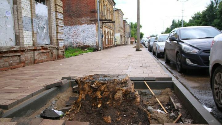 Театр абсурда: в Самаре дорожные рабочие обложили плиткой пень