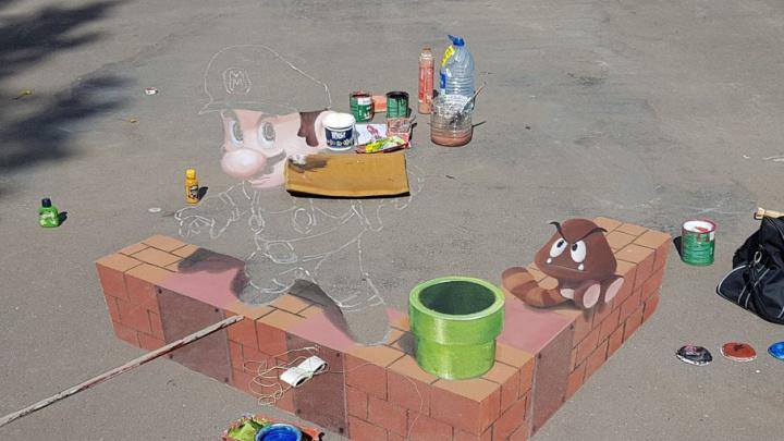 Ярославский художник нарисовал на асфальте 3D Марио
