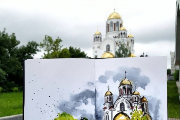 Испанская художница нарисовала Храм-на-Крови.