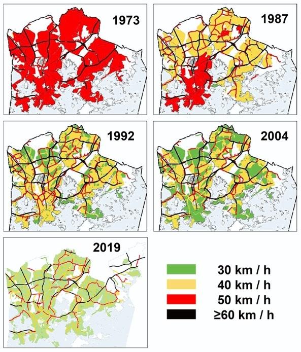 Ограничения скорости в Хельсинки с 1973 года