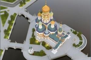 Вид на будущий собор с высоты.