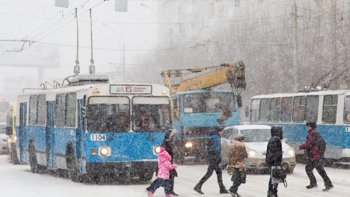 Нагрянувшая в город метель заметает волгоградские дороги