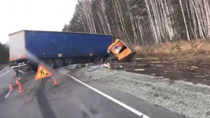 На трассе Тюмень–Курган произошло ДТП с тремя грузовыми машинами