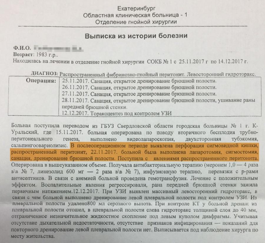 Выписка из 1-й больницы Екатеринбурга
