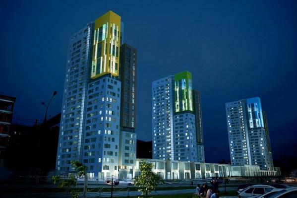 В «Новом центре» появится панорамный лифт со световой волной по всей высоте дома