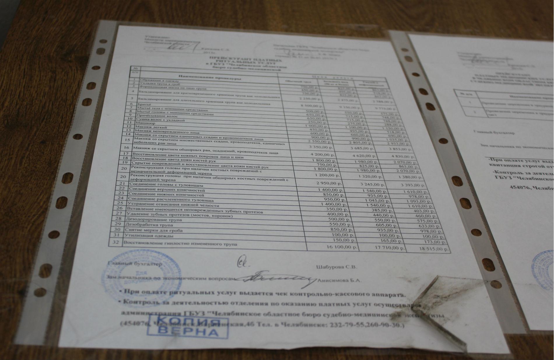 Прейскурант, который до 1 октября требует отменить УФАС, пока висит среди объявлений бюро судмедэкспертизы